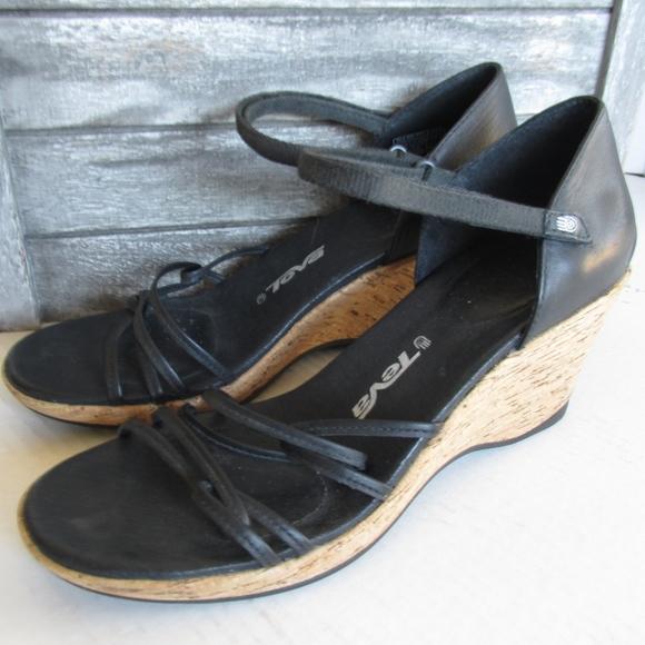 d749df41cf2f2e Teva Shoes - Teva Cork Wedge Sandals Riviera Strappy Black EUC